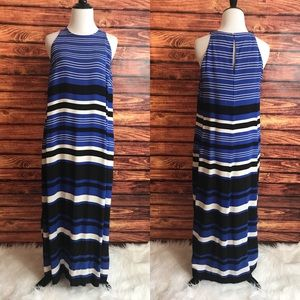 Zara black & blue striped maxi dress